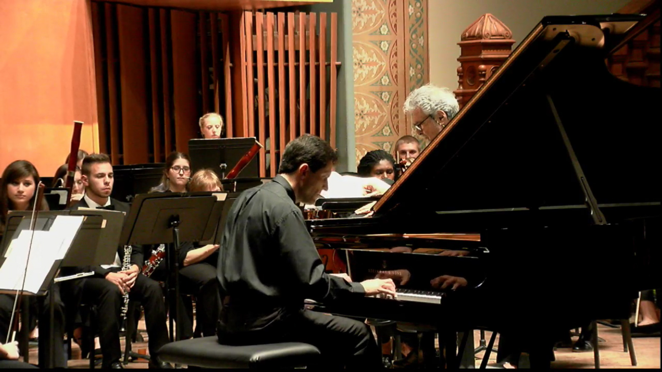 Performing the Brahms D Minor Concerto with Leon Fleisher conducting, 2015.